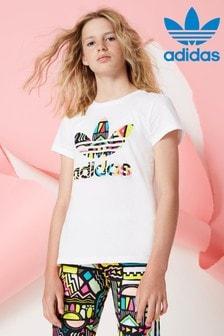 adidas Originals Whie Aztek Trefoil Tee