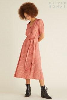 Oliver Bonas Orange Midi Foulard Print Dress
