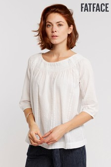 FatFace White Millie Textured Blouse