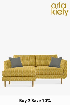 Orla Kiely Linden Large Chaise Sofa With Oak Feet