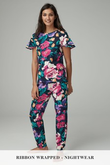 Floral Cotton Blend Pyjamas With Ribbon Wrapping