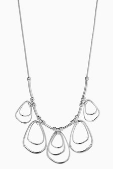 Jewelled Effect Multi Ring Necklace