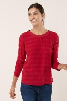 Long Sleeve Woven Mix Stripe Top