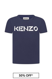 Kenzo Kids Girls Navy Cotton T-Shirt