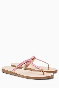 Diamanté Toe Post Sandals