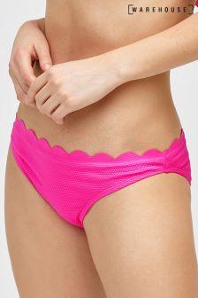 Warehouse Bright Pink Scallop Edge Bikini Bottom