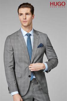 HUGO Grey Prince Of Wales Suit Jacket