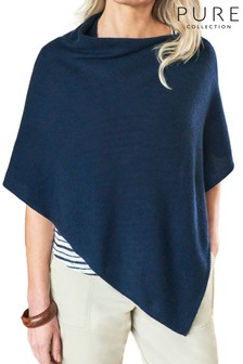 Pure Collection Blue Organic Cashmere Gassato Poncho