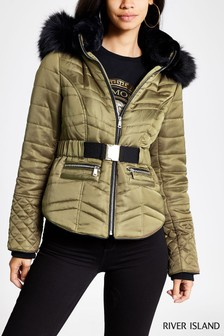 River Island Khaki Satin Belted Coat