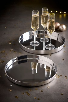 Set of 2 Nesting Silver Effect Trays