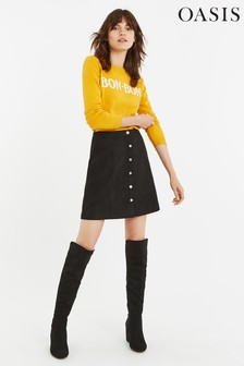 Oasis Black Faux Suede Popper Skirt