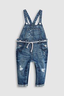 Distressed Belted Dungarees (3mths-6yrs)