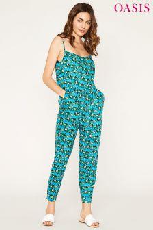 Oasis Blue Aymee Floral Peg Leg Jumpsuit