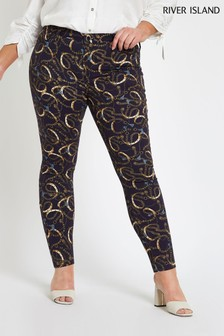 River Island Curve Navy Printed Molly Jean