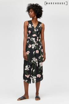 Warehouse Black Tiger Lily Midi Dress