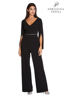 Adrianna Papell Black Long Crepe Jumpsuit