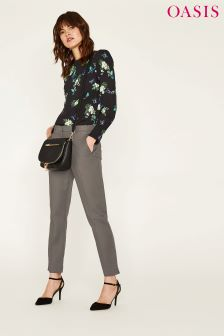 Oasis Grey Compact Cotton Trouser