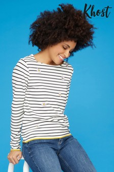 Khost Blue Daisy Stripe Long Sleeve T-Shirt
