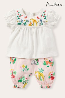 Boden Pink Embroidered Woven Play Set