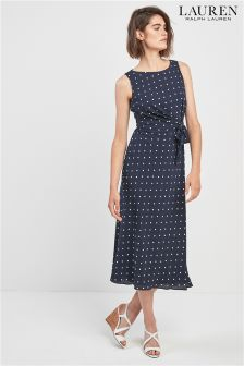 Lauren By Ralph Lauren Navy Polka Dot Dress