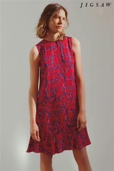 Jigsaw Pink Mini Cyclamen Ruffle Dress