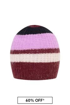 Girls Pink Striped Wool Mix Hat