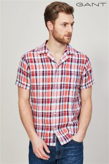 GANT Coral Pink Linen Madras Regular Short Sleeved Riviera Shirt