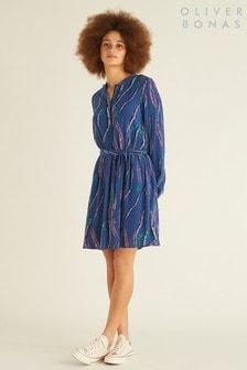 Oliver Bonas Blue Feather Print Dress