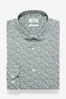 Floral Print Slim Fit Single Cuff Cotton Stretch Shirt
