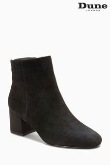 Dune Olyvea Black Suede Heeled Ankle Boot