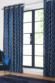 navy blue velvet curtains dark blue green velvet metallic geo eyelet curtains blue navy next official site