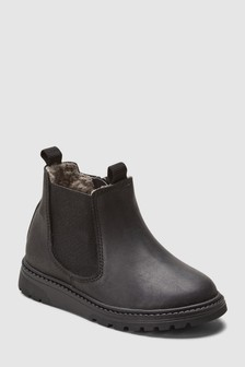 Borg Lined Leather Chelsea Boots (Younger)