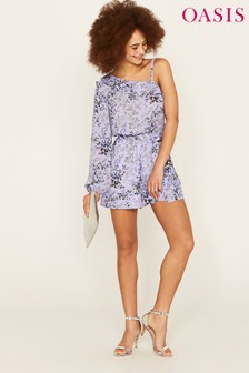 Oasis Purple One Shoulder Provence Playsuit