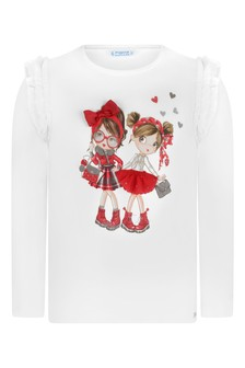 Girls Ivory Cotton Long Sleeve Fashionistas T-Shirt