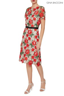 Gina Bacconi Red Melita Guipure Lace Dress