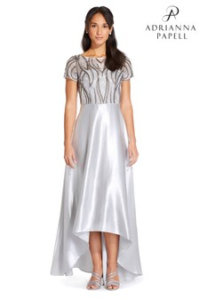 Adrianna Papell Grey Embroidery Satin High Low Gown Dress