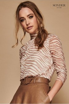 Sonder Brown Camel Brushed Mesh Top
