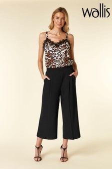Wallis Black Wide Leg Crop Trouser