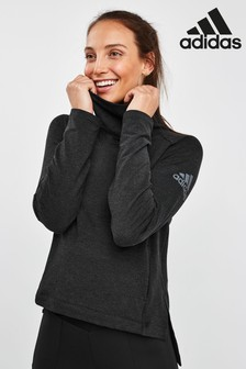 adidas Black Cozy Cover Up Sweat Top