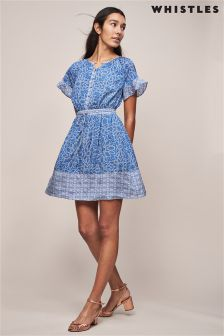 Whistles Riya Print Drawstring Dress