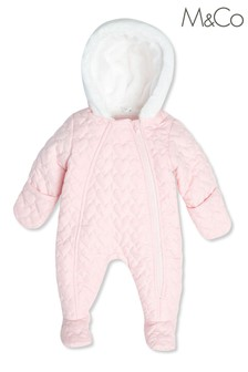 M&Co Kids Pink Heart Quilted Snowsuit