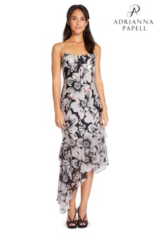 Adrianna Papell Pink Bias Cut Floral Printed Dress