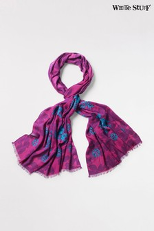 White Stuff Pink Flourish Floral Embroidered Scarf