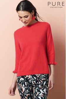 Pure Collection Ruffle Cuff Sweater