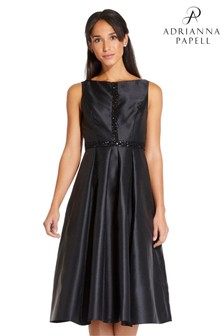 Adrianna Papell Black Beaded Mikado Dress