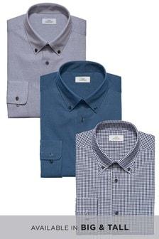 Sada tří kostkovaných a texturovaných košil