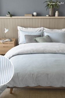 Phase Eight by Next Blue 200 Thread Count 100% Cotton Ticking Stripe Duvet Cover and Pillowcase Set
