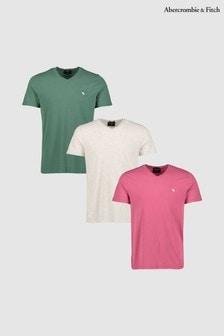 Abercrombie & Fitch Icon T-Shirts mit Rundhalsausschnitt, Dreierset