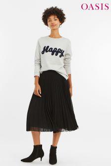 Oasis Black Pleated Midi Skirt