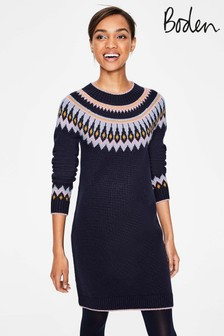 Boden Navy Agnes Fairisle Pattern Dress